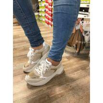 Igi&Co bézs-arany, fűzős női kényelmi cipő