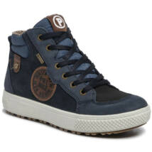 Primigi sötétkék-barna-fekete, feliratos, fűzős+cipzáras VÍZÁLLÓ cipő