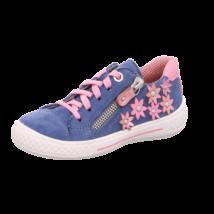 Superfit farmerkék-rózsaszín virágos, fűzős+cipzáras tavaszi cipő