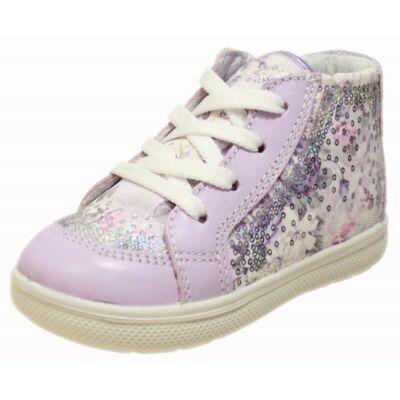 Primigi lila virágmintás fűzős-cipzáras cipő