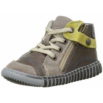 AKCIÓS 18-as! PRIMIGI barna-mustár,cipzáras, fűzős, bőr átmeneti cipő