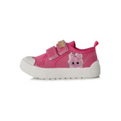 fb4f8065df D.D.Step csillogós rózsaszín, nyuszis, orrvédős, tépőzáras vászoncipő_