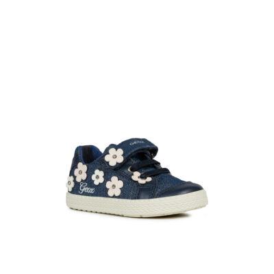 GEOX farmerkék-púder, virágos, gumifűzős + tépőzáras tavaszi cipő