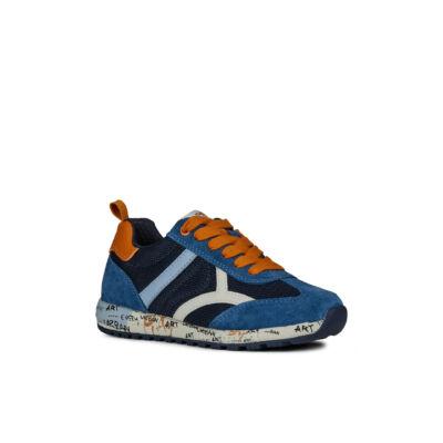 GEOX farmerkék-narancs, feliratos talpú, fűzős sportcipő