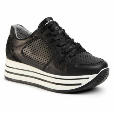 Igi&Co fekete, fűzős női kényelmi cipő