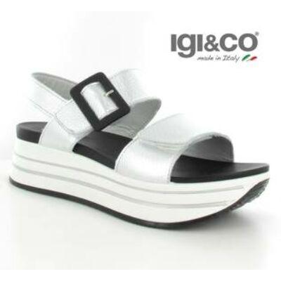 Igi&Co ezüst, csatos+tépőzáras, női kényelmi szandál