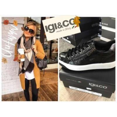 Igi&Co fekete lakkbőr, női kényelmi cipő fűzővel és cipzárral