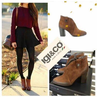 Igi&Co barna, polárbélelt, női kényelmi bokacsizma cipzárral
