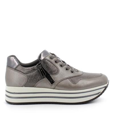 Igi&Co meleg ezüst, női kényelmi cipő fűzővel és cipzárral