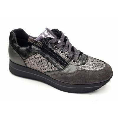 Igi&Co grafit-kígyóbőr mintájú, női kényelmi cipő fűzővel és cipzárral
