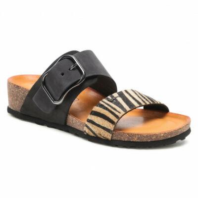 Igi&Co fekete-barna, zebramintás, csatos női kényelmi papucs