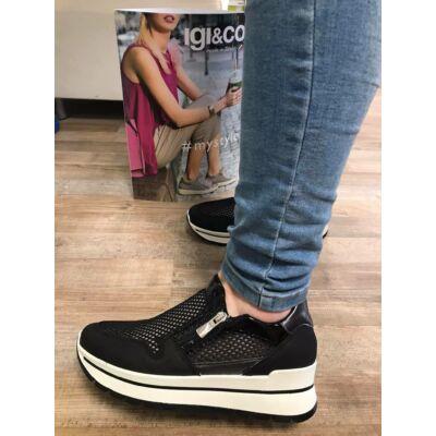 Igi&Co fekete, szellőző, cipzáros női kényelmi cipő