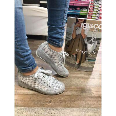 Igi&Co ezüst, szellőző, fűzős női kényelmi cipő