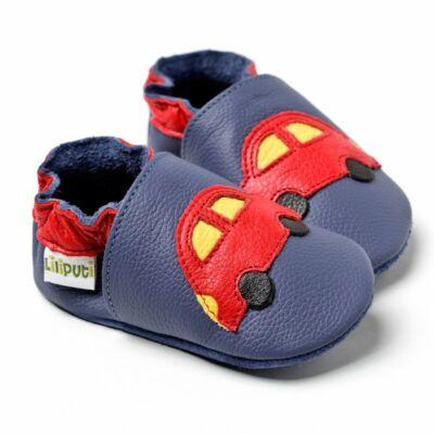 Liliputi puhatalpú cipő kék kisautós