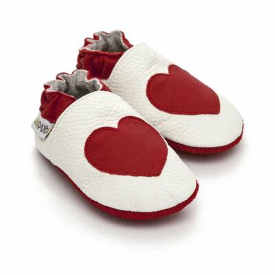 Liliputi puhatalpú cipő piros szívecske