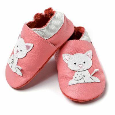 Liliputi puhatalpú cipő rózsaszín cicás