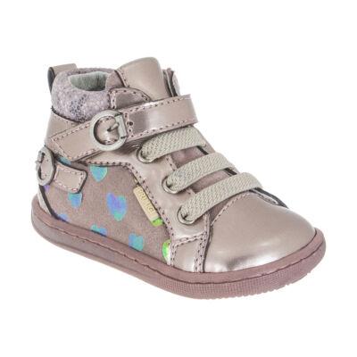 AKCIÓS! PRIMIGI bézs-szivárvány szívecskés tépőzáras, gumifűzős átmeneti cipő
