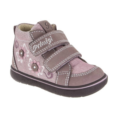 AKCIÓS! PRIMIGI bézs-csillogós rózsaszín, virágos, tépőzáras átmeneti cipő