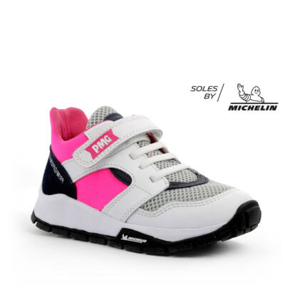 PRIMIGI rózsaszín-fekete-fehér, Michelin-talpas, gumifűzős+tépőzáras sportcipő