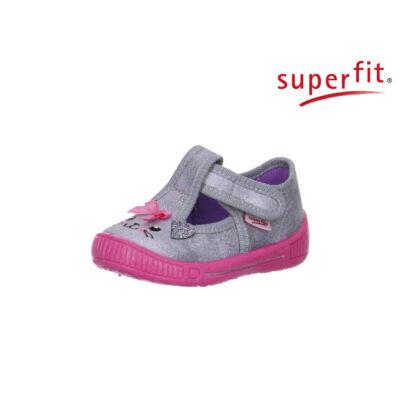 AKCIÓS 20-as! Superfit szürke-rózsaszín, csillogós, cicás, tépőzáras vászoncipő