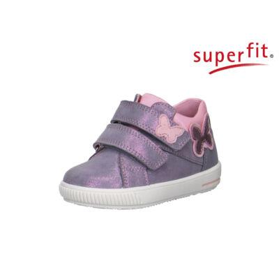 AKCIÓS 26-os! Superfit csillogós szürke-rózsaszín, pillangós, tépőzáras átmeneti cipő