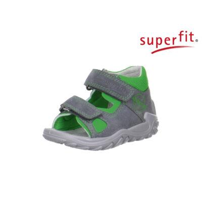 AKCIÓS! Superfit szürke-zöld, feliratos, tépőzáras első lépés szandál