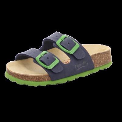 Superfit kék-zöld, csatos bio papucs
