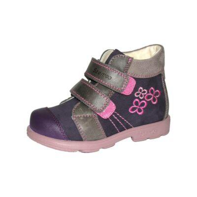 AKCIÓS 30-as! Szamos Kölyök lila-szürke-rózsaszín, virágos, szupinált őszi cipő