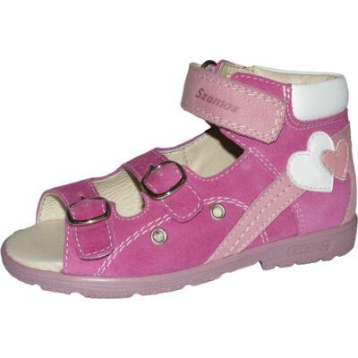 Szamos rózsaszín-fehér, szívecskés szupinált szandál