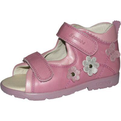 Szamos rózsaszín virágos-pillangós szupinált szandál