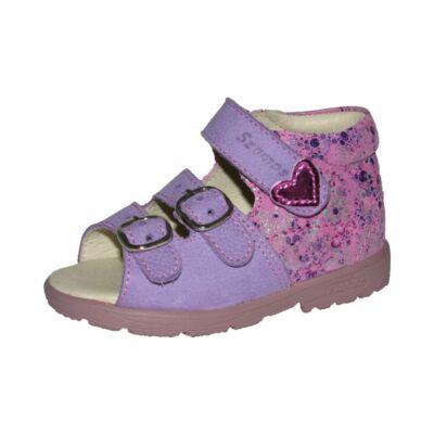 AKCIÓS 20-as! Szamos lila-rózsaszín, apró virágos és szívecskés szupinált szandál