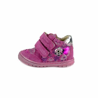 Szamos Kölyök pink-ezüst, apró virágos, tépőzáras első lépés cipő