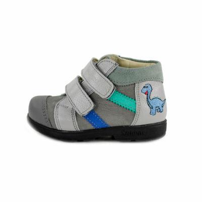 Szamos Kölyök szürke-kék, dínós, szupinált tavaszi cipő