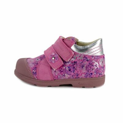 Szamos Kölyök pink-ezüst, apró virágos, szupinált tavaszi cipő