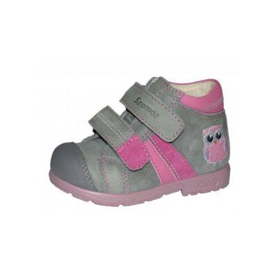 AKCIÓS 24-es! Szamos szürke-rózsaszín, baglyos, szupinált átmeneti cipő