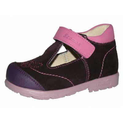 Szamos lila-rózsaszín, strasszos pillangós, szupinált szandálcipő