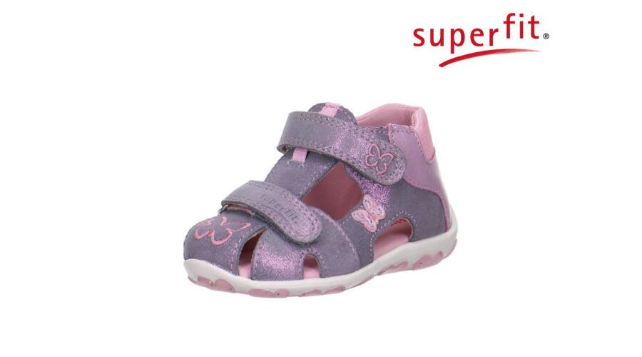 2ba9467bbbfb Superfit szivárvány-fényes rózsaszín, pillangós, tépőzáras, orrvédős szandál