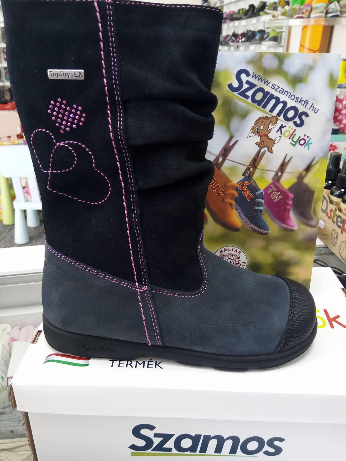 b78ecf521c Szamos Kölyök középkék-fekete, szívecskés, bundás, vízálló szupinált csizma  - Téli cipők - Trendi Kölyök Gyerekcipő webáruház - Szekszárd